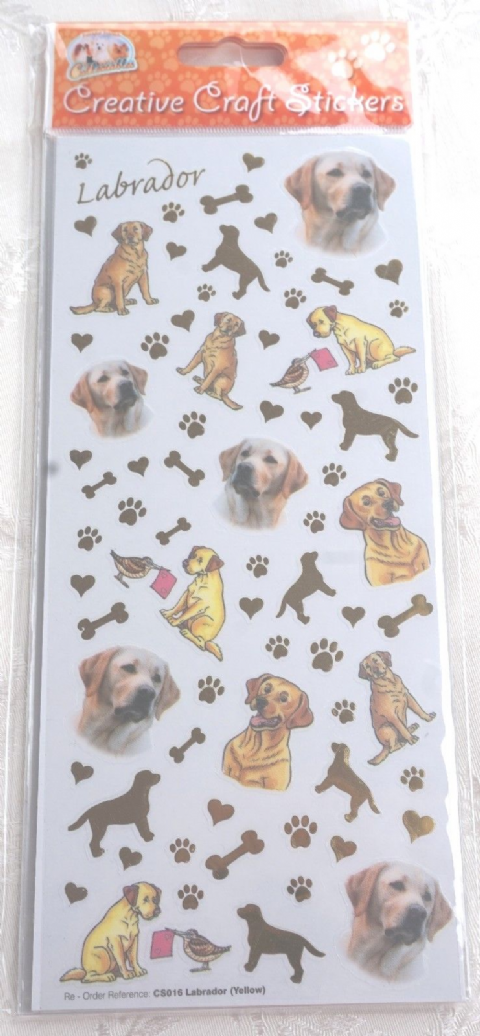 GOLDEN YELLOW LABRADOR CARD CRAFT STICKERS SCRAPBOOK